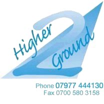 2 Higher Ground logo - phone: 07977 444 130, fax: 0700 580 3158