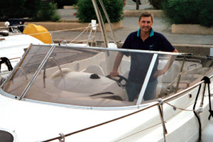 Chris in his boat