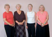 Hilary Andrews, Dorothy Crowther, Carol Roberts and Janet Roylance