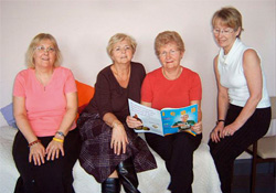 Janet Roylance (Secretary), Dorothy Crowther (Chief Executive), Hilary Andrews (Senior Nurse) and Carol Roberts(P.A.)